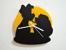 Lady and the Tramp Kiss - Black & Yellow Silhouette - Wall Clock
