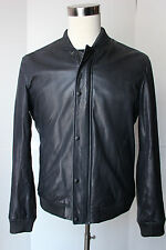 Mens Vince Navy Blue Lambskin Leather Jacket Large Varsity