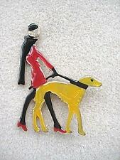 Deco Inspired Black, Red & Orange Enamel Lady Walking Dog Brooch