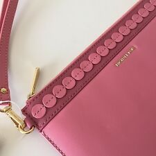 Michael Kors Analise Rose Pink Smooth Leather Large Zip Wristlet Clutch NWT