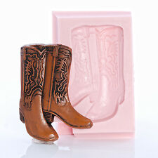 Silicone Cowboy Boot Mold Chocolate Gum Paste Soap Wax Candle Clay Mold (955)
