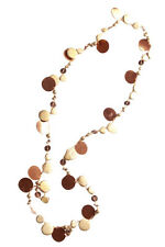 Golden Affair-shimmery Gold Circle/beads & Brown Sequin Necklace(Zx206)