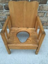 ANTIQUE Wooden OAK CHILDS POTTY CHAIR COMMODE PORTABLE CHILDREN CHAMBER Bean Pot