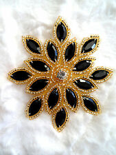 XR32 Applique Black Gold Beaded Snowflake Rhinestone Center Flower Patch 3""