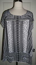 ONE WORLD PLUS SIZE CHIFFON GRAY BLACK WHITE SHORT SLEEVE OVERLAY TOP & TANK 3X