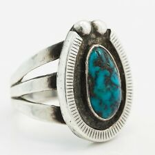 Antique 1960 Sterling Silver Native Pawn Navajo Last Chance Turquoise Naja Ring!