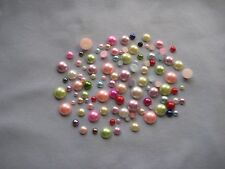 25 - PLASTIC ROUND PEARL FLATBACKS - ASSORTED COLORS & SIZES - NEW!!