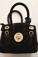 RALPH LAUREN COLLECTION GOLD BLK VELVET SOFT RICKY 18 MINI CROSSBODY BAG ITALY