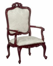 Dolls House Fancy Victorian Mahogany White Arm Chair Living Room Furniture 1:12
