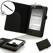In Pelle Nera Smart Case Cover con Luce AMAZON KINDLE (7a gen 2014) + Stylus