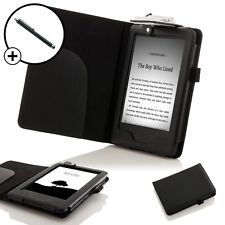 Leather Black Smart Case Cover with Light Amazon Kindle (7th Gen 2014) + Stylus