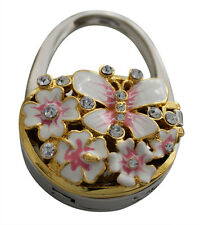 Handbag holder with mirror, pink butterfly and flower