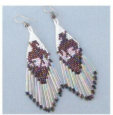 BROWN WHITE BEADS END OF TRAIL DELICA EARRINGS