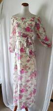 NEW Forever 21 IVORY Pink FLORAL Chiffon OFF SHOULDER Señorita Boho MAXI DRESS S