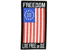 "(F11) NYBERG FREEDOM FLAG 2.5"" x 4.7"" iron on patch (4621) Live Free or Die"