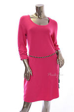 NY Collection Womens New $60 Solid Pink Belted 3/4 Sleeve Sweater Dress Size XL
