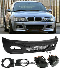 For 99-05 BMW E46 Sedan M3 Style Front Bumper & Fluted Fog Lights OE Lamp Covers