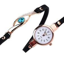 2017 Women Diamond Wrap Around Leatheroid Analog Quartz Bracelet Wrist Watches