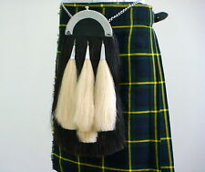 Scottish Pride Sporran | Black horse hair, 4 white tassels & Cantle | SP255