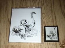 Pair of Swans 2 Pc Set-6 Blank Notecards,Linen Envs and Magnet New