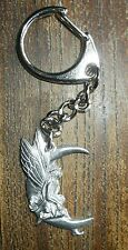Dainty pewter FAIRY IN MOON KEYRING