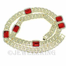 MENS FULLY ICED OUT HIP HOP RED RUBY RICK ROSS MIAMI CUBAN LINK CHAIN NECKLACE