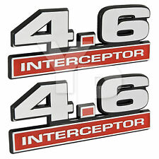 "4.6 Liter Crown Vic Police Interceptor Emblems in Chrome & Red - 5"" Long Pair"