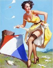 1940s Pin-Up Girl Let's Go Fly a Kite Picture Poster Print Art Pin Up