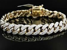 Mens Solid Yellow Gold Miami Cuban Genuine 12 MM Diamond Bracelet Bangle 9.5 Ct