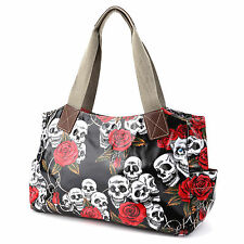 Black Skull Rose Oilcloth Shoulder Handbag School Bag Satchel Travel Day Bag