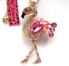 Betsey Johnson shiny pink crystal vivid flamingos pendant Necklace,546L,F