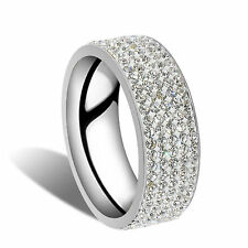 1pc Silver Size 7 Unisex white sapphire Stainless Steel  Wedding Party Band Ring