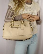 Coach Ashley Leather Convertible Satchel Shoulder Hand Bag Ivory
