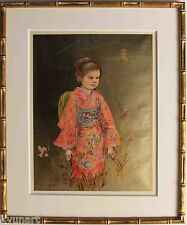 Listed American Artist Edna Hibel, Signed Original Lithograph with gold 1976