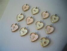 VTG (12) Lucite Pink & Clear Mustard Seed Heart Charms Pendants Religious