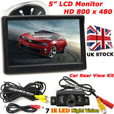 "Car Reverse Rear View Kit 5"" LCD Monitor +7LEDs IR Night Vision Reversing Camera"