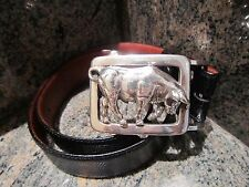 Rare!!! Kieselstein-Cord Sterling Charging Bull Buckle with Black Lizard Belt