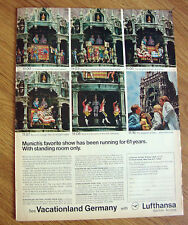 1969 Lufthansa Airlines Ad - Munich's Favorite Show 61 Years City Hall Clock