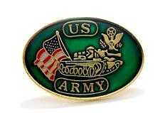 United States Army Tank USA Flag Lapel Hat Pin Gift Brass PPM007