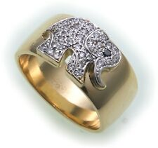 Damen Ring Elefant echt Gold 750 Brillant 0,27ct SI 18kt Diamant massiv Gelbgold