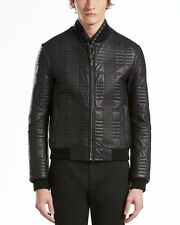 Gucci Quilted Leather Bomber Jacket, Size 52