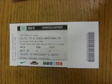 06/08/2014 Ticket: Celtic v Legia Warsaw [Champions League] (Murray Field Hospit