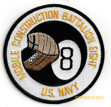 NMCB-8 PATCH  US NAVY SEABEES US NAVAL MOBILE CONSTRUCTION BATTALION PIN UP GIFT