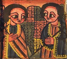 Ethiopian Christian Handmade Metal Altar Painting Triptych Icon, Ethiopia Africa