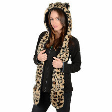 Donna Finta Pelliccia Leopardata Stile Super Caldi Invernali Animale Cappello Con Sciarpa Attached