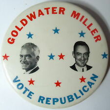 Large GOLDWATER ~ MILLER Vote Republican B&W Photo & Stars Campaign Pin 1964