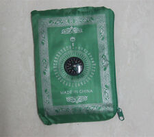 Pocket Portable Poly Prayer Rug Mat Muslim Eid Gift with Compass Attached Green
