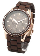 Designer Brown Rose Gold Fashion Men Women Crystal Stainless Steel Wrist Watch