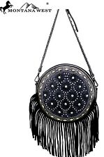 Montana West~Round Shoulder Bag~Leather Fringe~Patina Studs~Crossbody Purse~BLK