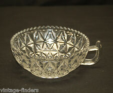 Vintage Beautiful Cut Glass Candy / Nut Serving Dish One Handled & Sawtooth Edge